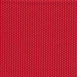 Fast stof i bomuld i rød med små guld prikker-20