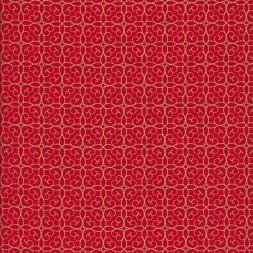 Fast stof i bomuld i rød med guld mønster-20