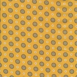 Bomuldspoplin med blomster og cirkler i støvet gul-20