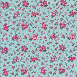 Bomuldspoplin lys turkis-blå med blomster i pink-20