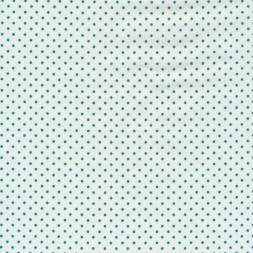 Bomuld med små prikker i knækket hvid og turkis-20