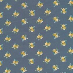 Bomuldspoplin i grå-blå med blomster i carry-20