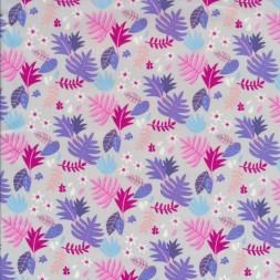 Bomuldspoplin med blade i lysegrå pink lyselilla-20
