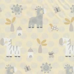 Bomuldspoplin offwhite med zebra og giraf-20