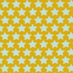 Bomuldspoplin med stjerner i carry og lys aqua-20