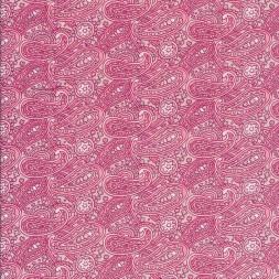 Bomuldspoplin med paisley / sjalsmønster i rosa kit-20