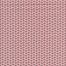 Bomuldspoplin med lille blad i hvid, rosa og army-20