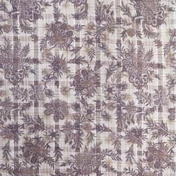 Bomulds-voil med blomster og tern i offwhite grå og pudderbrun-20