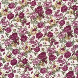 Bomulds-poplin med blomster offwhite gammel rosa og bordeaux-20
