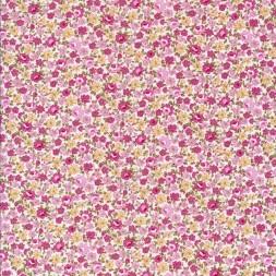 Småblomstret bomuld off-white rosa lyng lysegul-20
