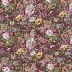 Blomstret bomuld brun gammelrosa og grå-pudder-20