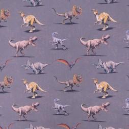 Bomuld i grå/brun med dinosaurus-20