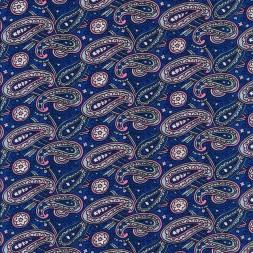 Bomuldspoplin med paisley / sjalsmønster i blå og lyserød-20