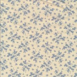 Bomuld m/grene med blomster i offwhite/denim-20