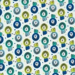 Bomuld med løver i lysegrøn, blå, lime-20