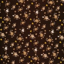 Bomulds poplin i mørkebrun med blomster-20