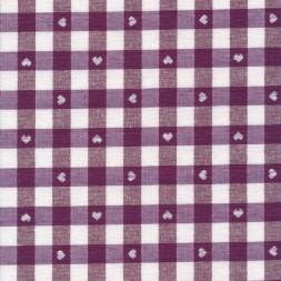 Ternet bomuld/polyester med hjerter i hvid og vinrød-20