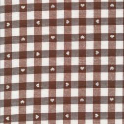 Ternet bomuld/polyester med hjerter i hvid og brun-20