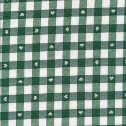 Ternet bomuld/polyester med hjerter i hvid og mørkegrøn-20