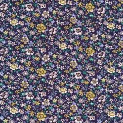Blomstret bomulds poplin i aubergine, carry og pudder-20