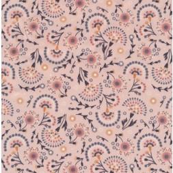 Bomulds poplin med blad og blomster-skærme i lys rosa-20