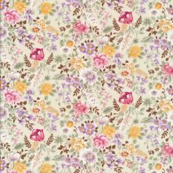 Bomulds poplin offwhite med blomster i sarte farver-20
