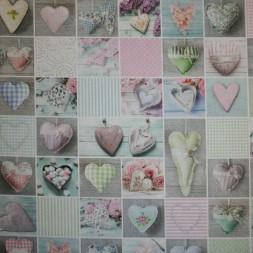 Bomuld m/digitalt print, firkanter m/hjerter-20