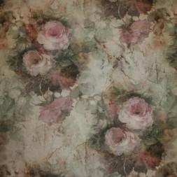 Bomuld/polyester m/roser rosa/støvet grøn/grå-20