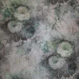 Bomuld/polyester m/roser støvet grøn/grå/irgrøn-20