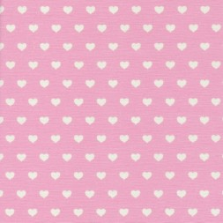 Bomuld-polyester lyserød med hvide hjerter-20