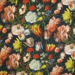 Bomuld med digitalt print sort med blomster-20