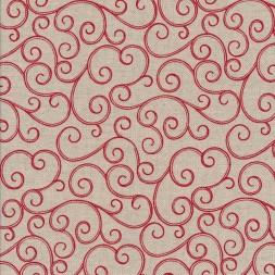Hør-look med snirkel mønster i rød-20