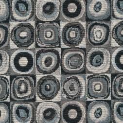 Gobelin sand med firkanter med cirkler i grå sort hvid-20