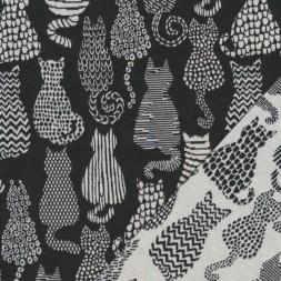 Bomuld/polyester m/katte i sort og offwhite-20