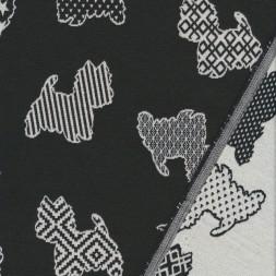 Bomuld/polyester m/hunde i sort og offwhite-20