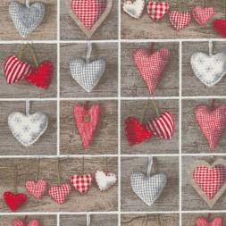Bomuld/polyester firkanter med hjerter-20