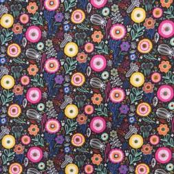 Bomuld/polyester retro sort med blomster-20
