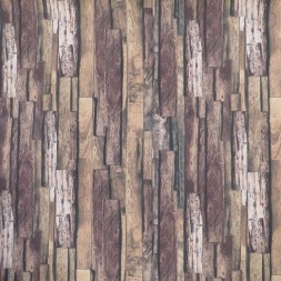Bomuld/polyester med træ-brædder look-20