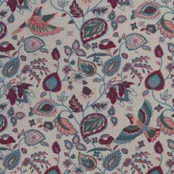 Bomuld/polyester med fugle og blade i hørfarvet petrol koral-20