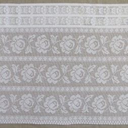 Kappe/Cafegardin i hvid i hæklet look med roser, 50 cm.-20