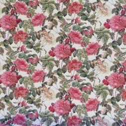 Gobelin i offwhite med roser i rød, rosa og creme-20