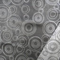 Dug-stof jacquard m/cirkler i sort og sølv-20