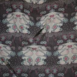 Chiffon silke/bomuld mørkelilla m/mønster-20