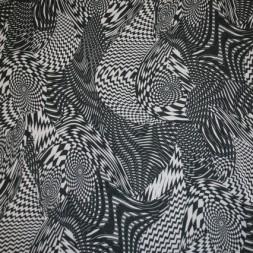 Chiffon m/grafisk mønster sort/hvid-20