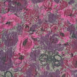 Let krøllet chiffon m/blomster, grå/lilla/pink-20
