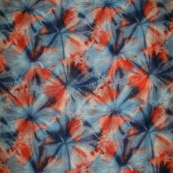 Let chiffon m/mønster koral/blå/hvid-20