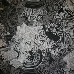 Chiffon m/blomst/cirkel sort/sand/hvid-20