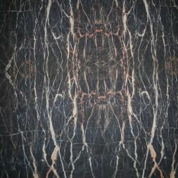 Rest Let chiffon m/streger, sort/grå/brændt orange, 40 cm.-20