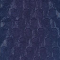Chiffon med prikker og frynser i støvet mørkeblå-20