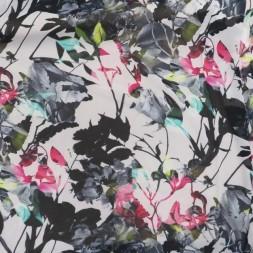 Chiffon i viskose med grene og blomster i hvid sort pink-20